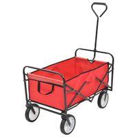 Składany wózek ogrodowy, stalowy, czerwony