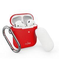 PURO ICON Case with hook - Etui Apple AirPods 1 & 2 generacji z dodatkową osłonką i karabińczykiem (Red + White Cap)