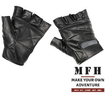 Skórzane rękawiczki bez palców Deluxe czarne