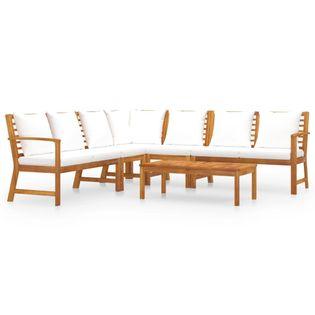 Lumarko 6-cz. zestaw wypoczynkowy do ogrodu, poduszki, drewno akacjowe;