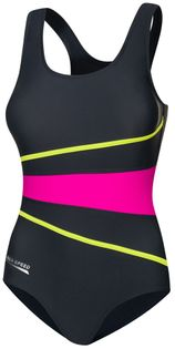 Kostium pływacki STELLA Rozmiar - Stroje damskie - 44(2XL), Kolor - Stroje damskie - Stella - 331 - szary / różowy / limonka