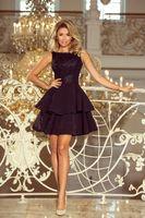 Wieczorowa sukienka z wyszywaną górą z połyskującym efektem i falbaniastym dołem - Czarny M