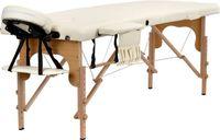 Stół, łóżko do masażu 2-segmentowe drewniane Kremowe