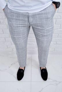 Spodnie lniane szare meskie w krate regular Fiesta-7 - 33