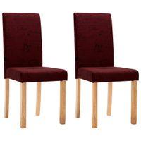 Krzesła stołowe, 2 szt., czerwone wino, tkanina