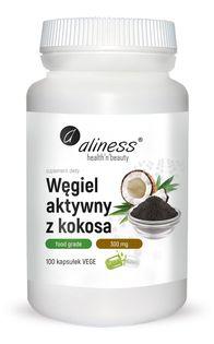 Węgiel aktywny z kokosa Food Grade 300 mg x 100 Vege caps Aliness