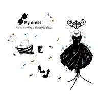 Naklejki na ścianę ścienne Sukienka Garderoba My dress WS-0132