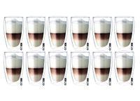 Szklanki z Podwójną Ścianką do Kawy Latte Macchiato 380ml 12 sztuk