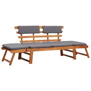 Leżanka ogrodowa 2-w-1 z poduszką, 190 cm, lite drewno akacjowe