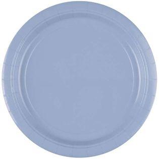 """Talerzyki papierowe """"Premium AMSCAN L"""", niebieskie pastelowe, 22,8 cm, 8 sz"""
