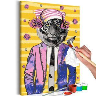 Obraz do samodzielnego malowania - Tygrys w czapce