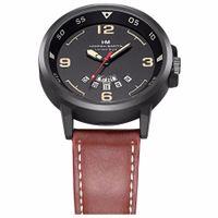 Zegarek męski, damski HM, czarny, brązowy z datownikiem