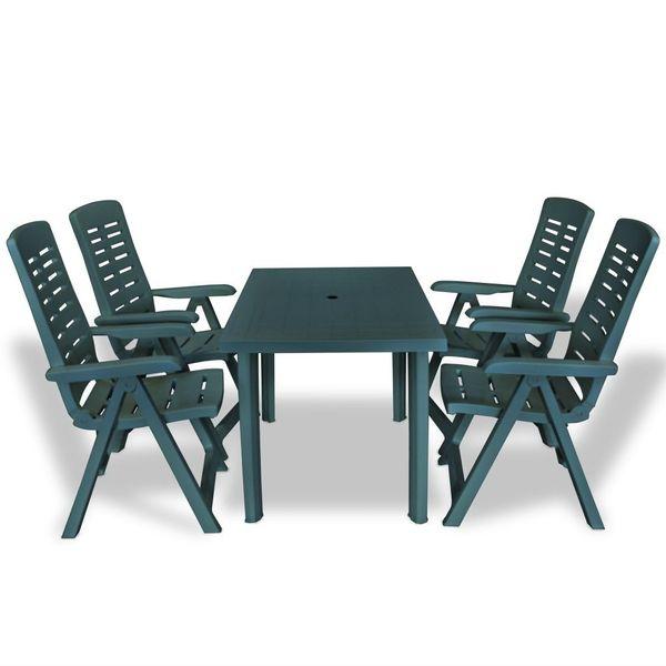Meble Ogrodowe Stolik Stół 4 Krzesła Składane Zielone