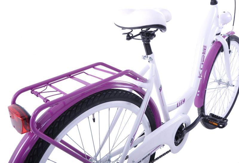 Rower miejski 26 damski Kozbike K36 1s biało-fioletowy na Arena.pl