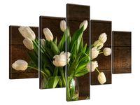 Obraz Drukowany 100x70 Kremowe tulipany  praca  najwyższej próby