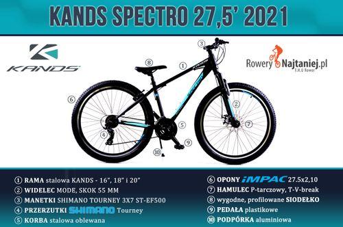 """ROWER MTB 27,5 KANDS SPECTRO GRANATOWO-NIEBIESKI RAMA 16"""" 2020 na Arena.pl"""