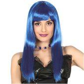 PERUKA niebieska NEON BOB grzywka DŁUGIE włosy
