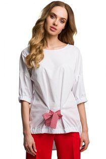 Bluzka asymetryczna biała wiskoza rękaw 3/4 gumka okrągły plisy kokardka