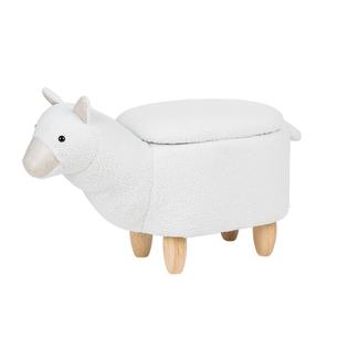 Pufa Tapicerowana Biała Alpaca