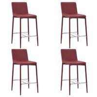VidaXL Krzesła barowe, 4 szt., kolor czerwonego wina, sztuczna skóra
