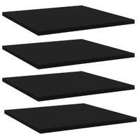 Lumarko Półki na książki, 4 szt., czarne, 40x40x1,5 cm, płyta wiórowa