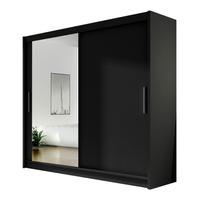 Szafa przesuwna Bega VI z lustrem 180cm - pojemna garderoba - CZARNY