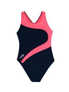 Kostium kąpielowy jednoczęściowy czarno-różowy 104-110
