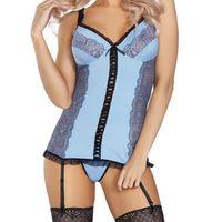 Gorset błękitny do pończoch Leyla + stringi L/XL