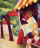 Reprodukcje obrazów In front of the hat shop woman with red jacket and child - August Macke Rozmiar - 50x60