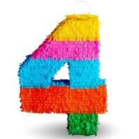 PINIATA pinata na URODZINY cyfra 4 kolorowa XXL