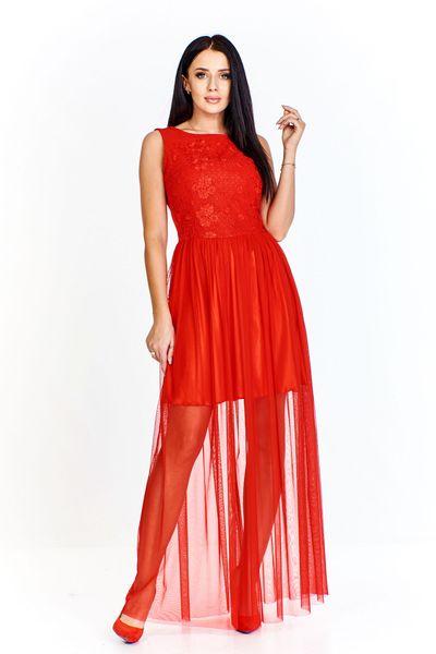 Sukienka z wyszywanym przodem i dołem z krótkiej podszewki i długiej prześwitującej spódnicy - Czerwony 44 na Arena.pl