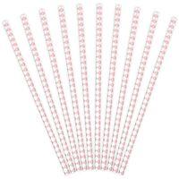 Słomki papierowe KARO kratka różowe jasne 10 szt
