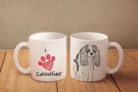 """Cavalier King Charles Spaniel - kubek z wizerunkiem psa i napisem """"I love..."""". Wysokiej jakości kubek ceramiczny."""