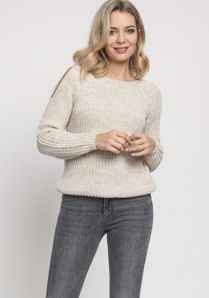 Sweter z rozcięciami na ramionach - Beżowy S na Arena.pl