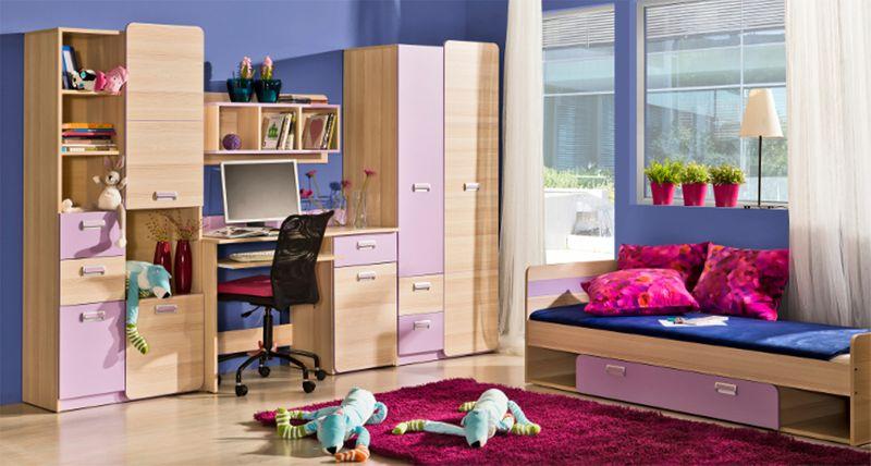 Meble Dziecięce Młodzieżowe Loren Zestaw 3 Z łóżkiem Biurkiem