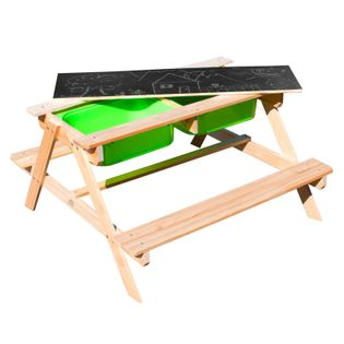 SUNNY drewniany stolik piknikowy z pojemnikami na piasek i wodę wykonany z drewna sosnowego FSC