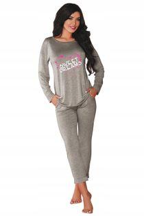 Piżama L/XL wiskoza długi rękaw spodnie SZARA