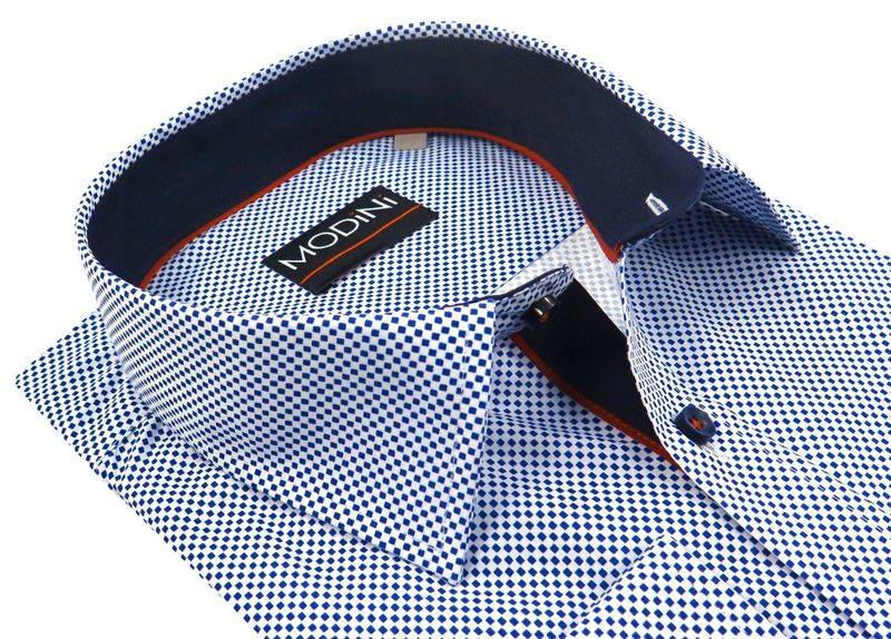 250a34b693dd32 Biała koszula męska w granatowe kwadraciki A22 Rozmiar koszuli i fason -  188-194 /