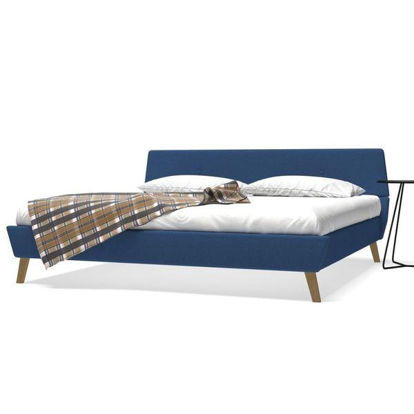 łóżko Rama łóżka Ze Stelażem Drewniana 180x200 Niebieskie