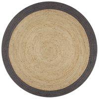 Ręcznie wykonany dywanik, juta, ciemnoszara krawędź, 90 cm