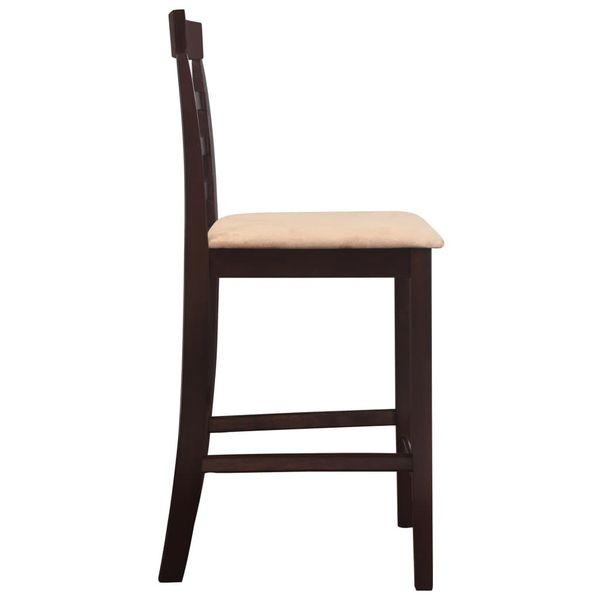 Stół I Krzesła Barowe, Lite Drewno, Ciemnobrązowe zdjęcie 7
