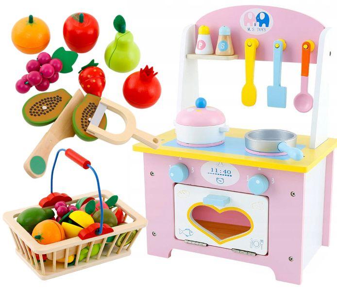 Kuchnia Drewniana Dla Dzieci Garnki Akcesoria Owoce Magnetyczne U46U zdjęcie 13