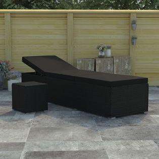 Leżak z poduszką i stolikiem polirattan czarny