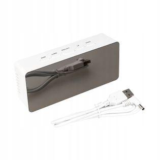 BUDZIK CYFROWY ZEGAREK LED TERMOMETR USB LUSTRO