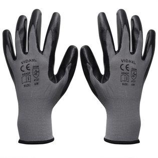 Rękawice robocze nitrylowe 24 pary szaro-czarne rozmiar 10/XL