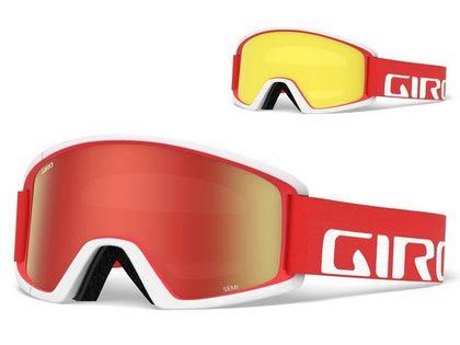 Gogle zimowe GIRO SEMI RED WHITE APEX (Szyba lustrzana kolorowa AMBER SCARLET 40% S2 + Szyba kolorowa YELLOW 84% S0) (DWZ)