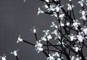 Lampki solarne 36 LED, drzewko z kwiatkami, zimne białe