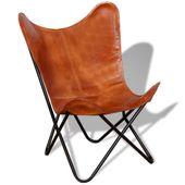 Krzesło Butterfly prawdziwa skóra, brązowe