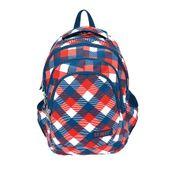Plecak szkolny młodzieżowy ST.REET w granatowo czerwoną kratę CHEQUERED RED and BLUE (09657)