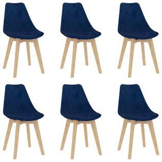 Lumarko Krzesła stołowe, 6 szt., niebieskie, aksamitne